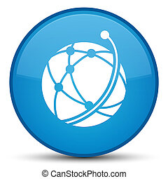 Global network icon special cyan blue round button