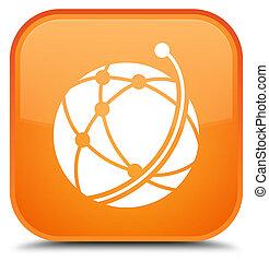 Global network icon special orange square button
