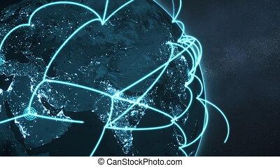 global network loop close-up - blue night earth version