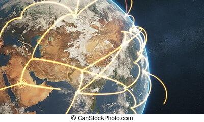 global network loop close-up - orange day earth version