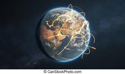 global network loop - orange day earth version