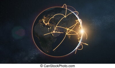 global network loop - orange night earth version