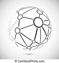 Global network - Modern globe connections network design,...