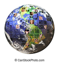 Global Network of People - Montage of the earth with a...