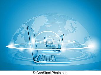 Global network - Laptops against globe blue illustration....