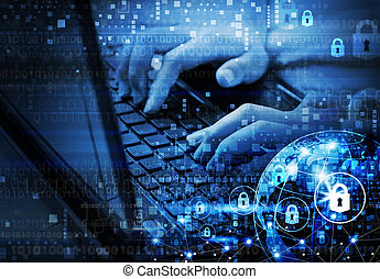 Global network security internet concept of woman using laptop with digital technology