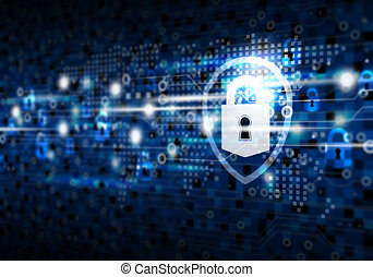 Global network security on digital technology background