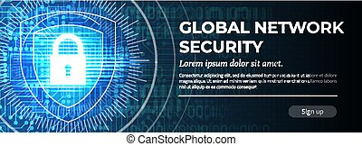 Global Network Security. The Blue Modern Background. Vector.