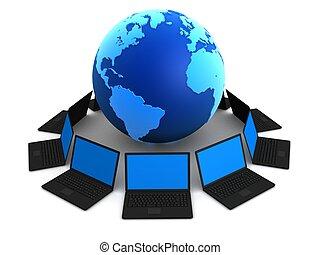 global network - 3d rendered illustration of notebooks...
