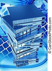 Global Networking Vertical 3D Rendered Illustration. Sixteen...