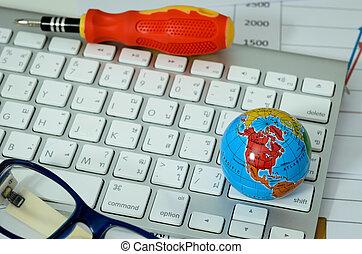 global on keyboard with eyeglasses
