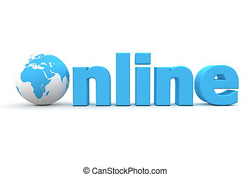 blue word Online with 3D globe replacing letter O
