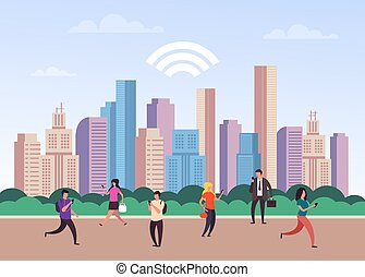 Global online communication concept. Vector flat cartoon graphic design isolated illustration