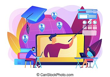 Distance university students flat characters watching tutorial video. Global online education, e-learning tools, internet training webinar concept. Bright vibrant violet vector isolated illustration