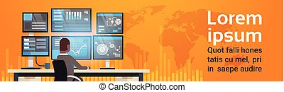 Global Online Trading Concept Man Working With Stock...