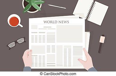 global, périodique, table, vue., sommet, vecteur, tenue, international, lecture, mondiale, sien, coloré, séance, bureau, presse, hands., homme, illustration., personne, impression, journal, news., ou