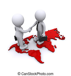global partnership concept - two businesmen standding on...