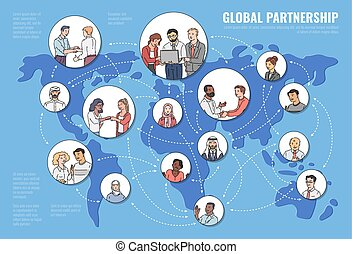 Global partnership concept with business people on map vector sketch illustration.