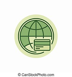 Global payment green icon