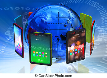 global, pc, concept, boom, tablette