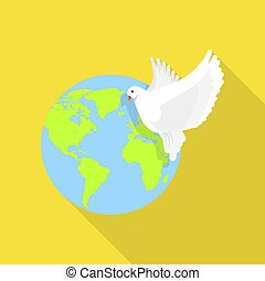 Global peace pigeon icon, flat style