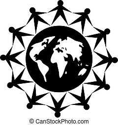 global people - black and white icon style image of united...
