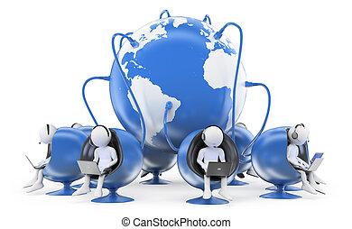 global, personas., centro de la llamada, 3d, blanco
