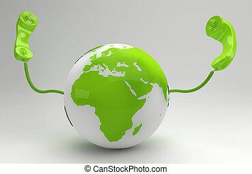 global, planet, begrepp, grön, telekommunikation