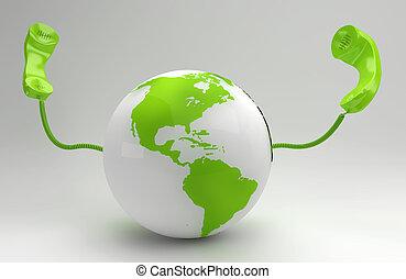 global, planeta, concepto, verde, telecomunicación