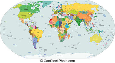 Global political map of the world, capitals and major city...