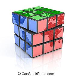 global politics, globalization, 3d concept illustration