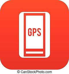 Global Positioning System icon digital red