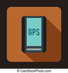 Global Positioning System icon, flat style