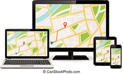 Global Positioning System on display of modern digital...