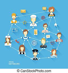 global, professionnel, concept, réseau
