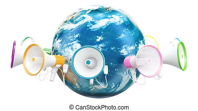 Global promotion concept, megaphones around Earth Globe...
