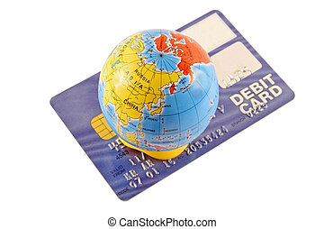 Global Pruchase - Debit card with a globe on a white...