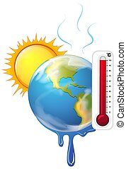 global, quentes, sol, warming