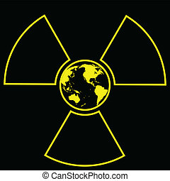 Illustration of global radiation on a black background.