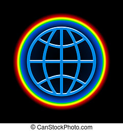 Global Rainbow - Blue globe with bright colorful atmosphere...
