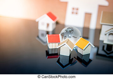 Global real estate or property investment concept