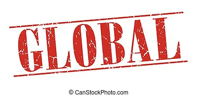 global red grunge vintage stamp isolated on white background