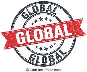 global red round grunge vintage ribbon stamp