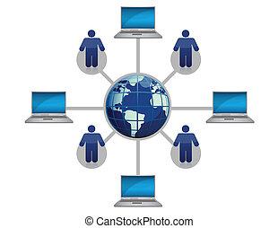 global, rede computador, azul