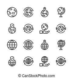 Global related icon set. Vector illustration