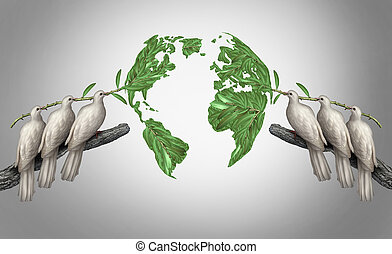 Global relations concept as a group of white peace doves holding olive branches coming together from the east and west to form a world map as a symbol for peace talks between nations.