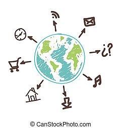 global, relier, apps, services, réseau