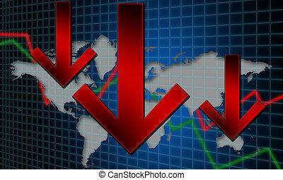 global, rezession, finanzielles konzept