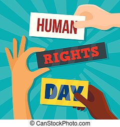 Global rights day concept background, flat style