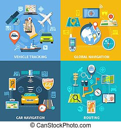 Navigation design concept with four compositions flat pictograms and icons with signboards gps satellites and gadgets vector illustration